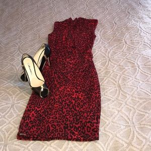 Cache Red Leopard Dress - NWT